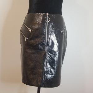 TOPSHOP cracked vinyl black mini skirt. Size 6